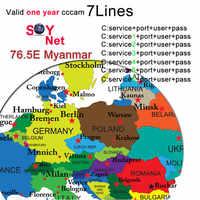 Europa 7 líneas Cccam Cline para 1 año Europa, España/Alemania para V8 Super V7 HD receptor satelital V7S, IPS2