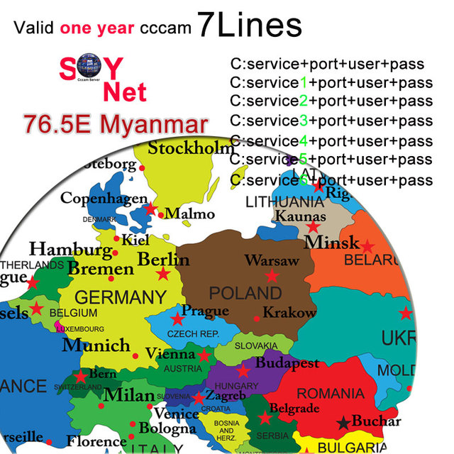 Europe 7 Lines Cccam Cline For 1 Year Europe Spain/Germany For V8 Super,V7 HD,V7S,IPS2 Receptor Satellite Receiver