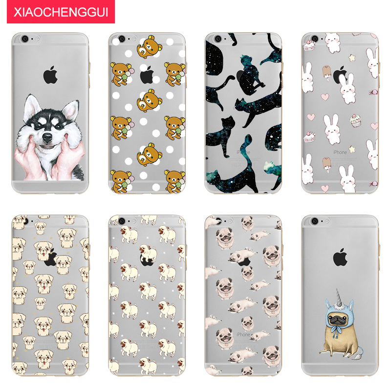 Cute Animal Dog Cat Rabbit Bear Soft TPU Silicone Case Cover For Apple iphoe X 8 7 Plus 6 6S 5 5S Back Cover 2018 Hot Sale #256