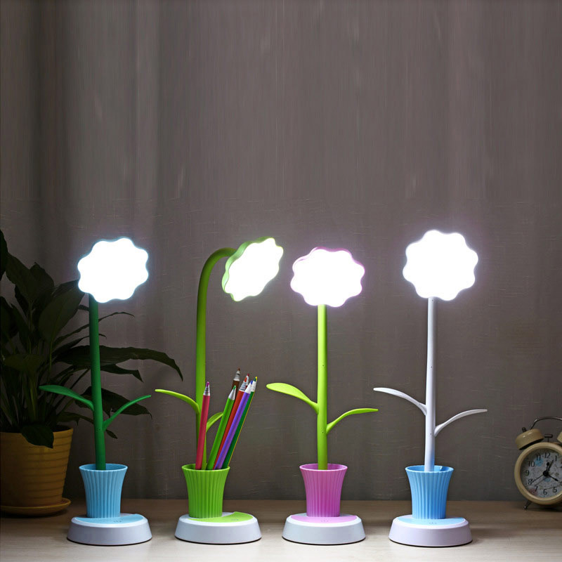 Schreibtischlampen Lampen & Schirme Schneidig Led Schreibtisch Licht Mit Stifthalter Sonne Blume Usb Lade Kinder Kinder Nachtlampe Energiesparlampen Für Schlafzimmer Geschenke Clh