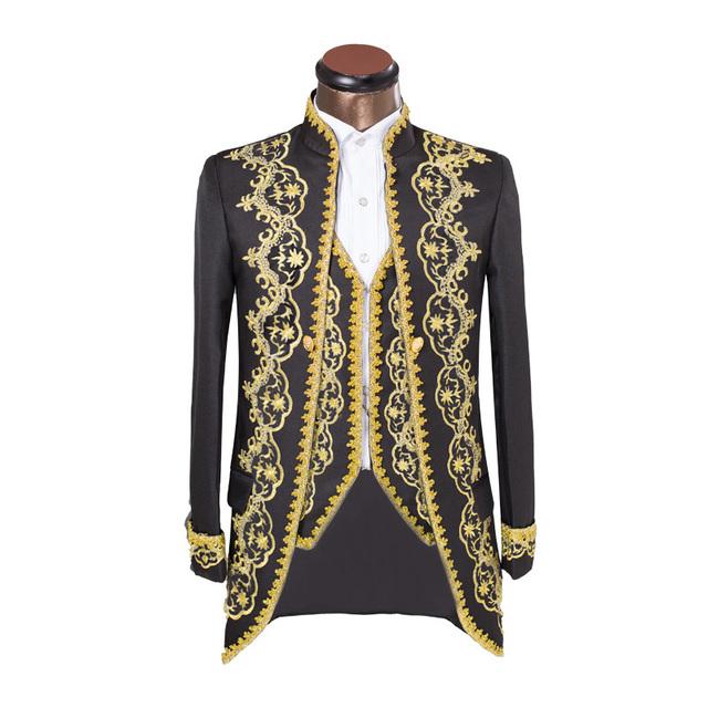 Novo Bordado Vestido de Smoking Para Homens 2017 Ternos de Negócio dos homens Blazer Traje Ópera Palácio Jaquetas Roupas de Marca Ternos de Casamento