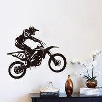 DIY Autoadesivo Atleta de Esportes Da Motocicleta Decalques de Parede adesivo de parede papel de parede de decoração do Quarto Menino