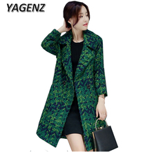 YAGENZ 2017 Winter Double-breasted Women Woolen Jacket Coat Elegant Slim pockets Long Outerwear Plaid Wool Female Casual Jacket