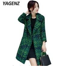 YAGENZ 2017 Winter Double-breasted Women Woolen Jacket Coat Elegant Slim pockets Long Outerwear Plaid Wool Female Casual Jacket