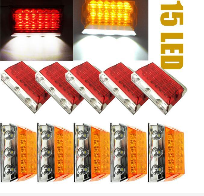 10 Stks Truck Trailer Rode Amber 15-led Klaring Zijmarkeringslichten Atv Suv Kraan Auto Styling Het Verstrekken Van Voorzieningen Voor Het Volk; Het Leven Gemakkelijker Maken Voor De Bevolking