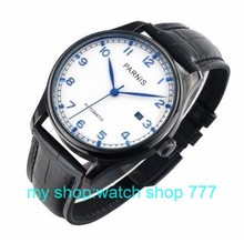 2016 new fashion 43mm PARNIS Asian ST2530 automatic mechanical movement men s watch PVC black watchcase