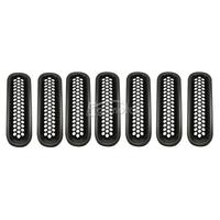 7x Car Front Mesh Insert Grilles Cover Grill Black Shell For Jeep Wrangler JK 2007 2015