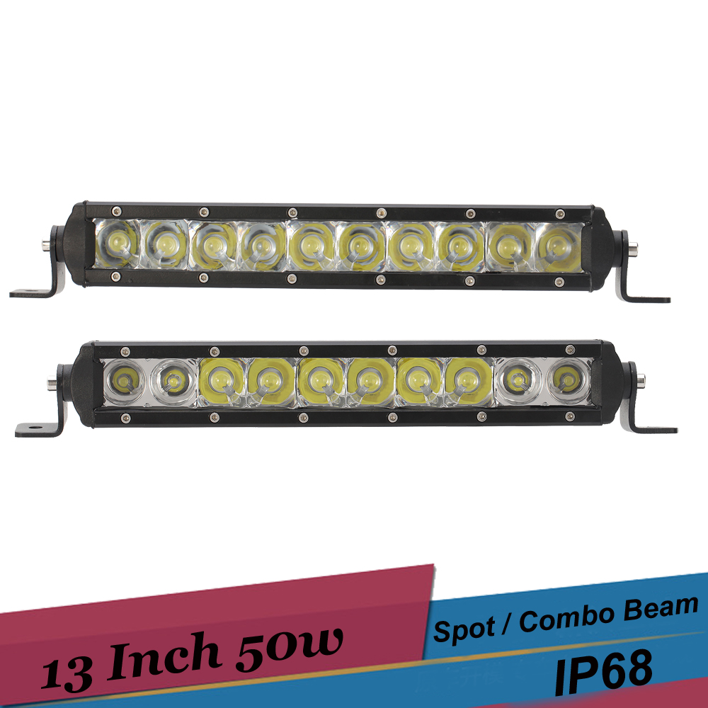 13 Inch LED Light Bar 4x4 AWD Offroad Driving Bar Lamp 50W LED Work Light for Car Truck Trailer SUV ATV Pickup Boat Golf Cart auxbeam 44 576w cree chip led head light bar 6000k offroad work light for atv utv suv rzr pickup boat car driving led bar 3 row