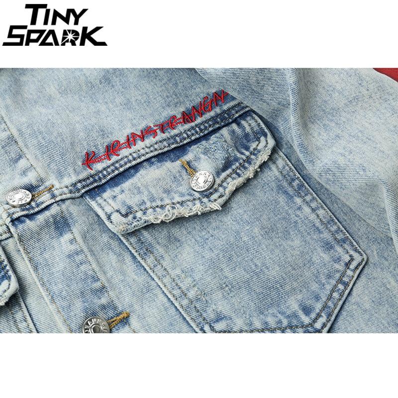 Harajuku broderie Dragon veste Jeans Streetwear Hip Hop hommes Vintage lavé veste en jean 2018 automne rouge rayé vestes en Denim-in Vestes from Vêtements homme    3