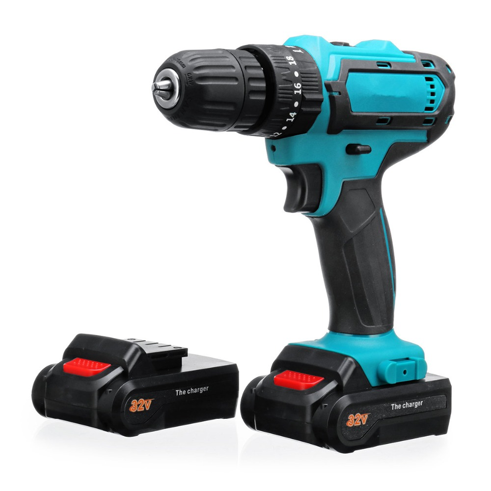 32V MAX Cordless Drill Impact Drill Power Driver 2 Batteries Electric Screwdriver 2 Speed 3 IN1 Hammer Electric Hand Drill32V MAX Cordless Drill Impact Drill Power Driver 2 Batteries Electric Screwdriver 2 Speed 3 IN1 Hammer Electric Hand Drill