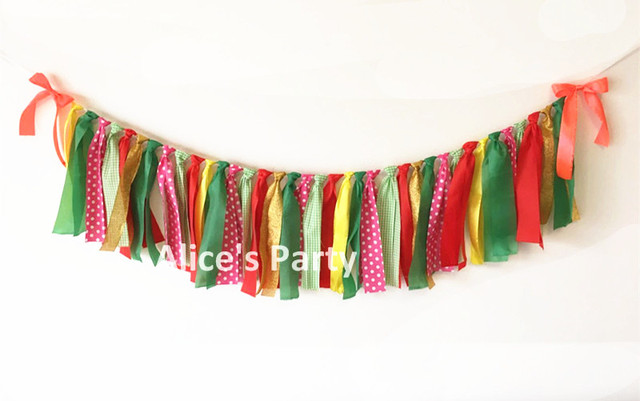 Hot Rag Tie Gorgeous Bunting Wedding Party Decoration Watermelon Themed Baby Shower Banner Red Gold Pink Green Dots Garland Flag In Banners Streamers