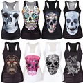 New 2016 Harajuku Women 3D Tops Vest Cool Woman Vests Skull Print Camisole Sexy Fashion Punk Girl Slim Tank Tops 21 Style