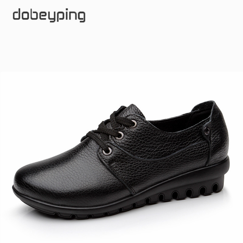 New Spring Autumn Flats Shoes Woman Soft Genuine Leather Women's Casual Shoes Lace-Up Mother Walking Footwear Plus Size 35-41 free shipping small size 38 39 44 men spring autumn flats boy genuine leather shoe students fashion trend lace up shoes non slip