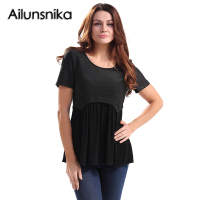 Ailunsnika Summer Women Knitted T Shirt Patchwork Pleated T-shirts Blusas Slim Short Sleeve Casual Tops Camiseta Mujer JL1981