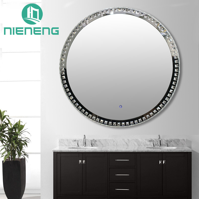 Nieneng Demist Lighted Vanity Make up Heated Mirror Bathroom Round Makeup LED Mirror Dimmer & Defogger Silver Backed ICD90110