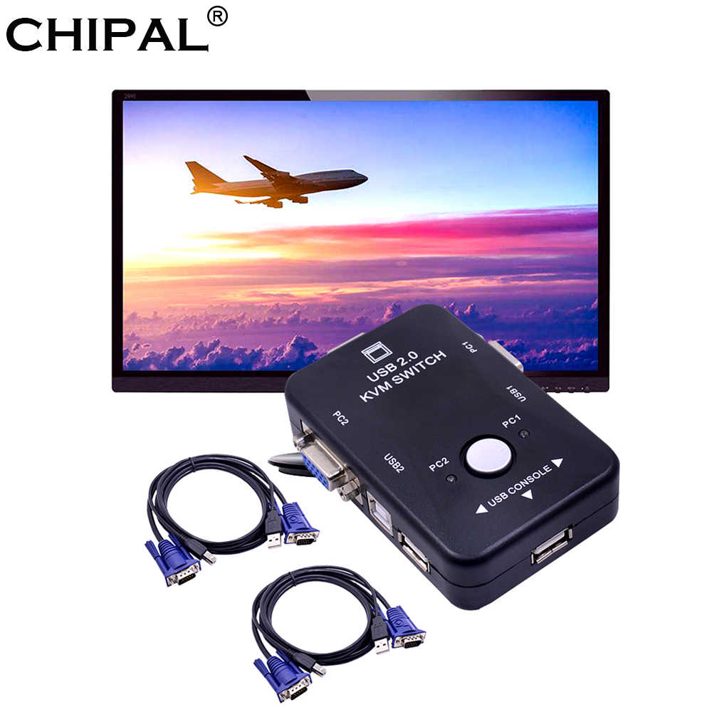 Chipal 2 Port USB 2.0 KVM Switch Switcher 1920*1440 VGA SVGA Switch Splitter Kotak + 2 Kabel untuk keyboard Mouse Monitor Adaptor