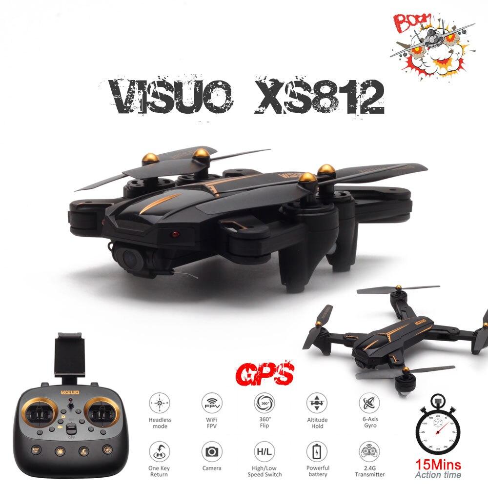 VISUO XS812 GPS drone rc avec 2MP/5MP HD Caméra 5G WIFI FPV Maintien D'altitude Un Retour Key quadrirotor hélicoptère rc VS SG900 Dron