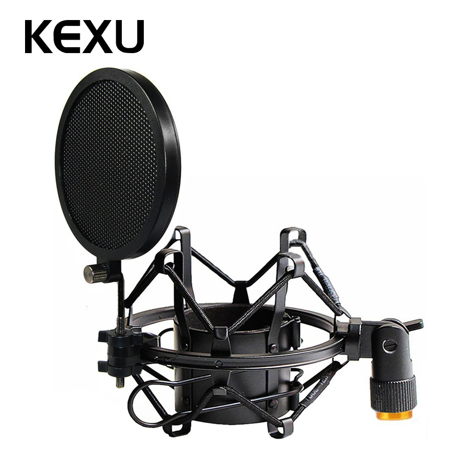 47-53mm Microphone Shock Mount Double Mesh Pop Filter & Screw Adapter Adjustable Anti Vibration Isolation Metal Mic Mount Holder47-53mm Microphone Shock Mount Double Mesh Pop Filter & Screw Adapter Adjustable Anti Vibration Isolation Metal Mic Mount Holder