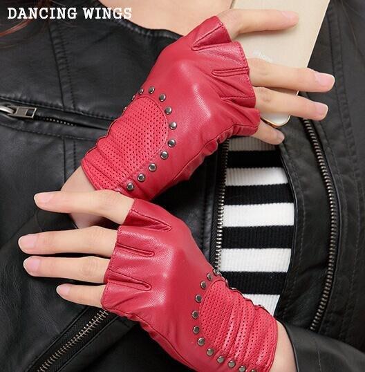 Leather Gloves Female Fashion Rivets Half Finger Glove Genuine Sheepskin Gloves Lady Spring Autumn Winter Mittens