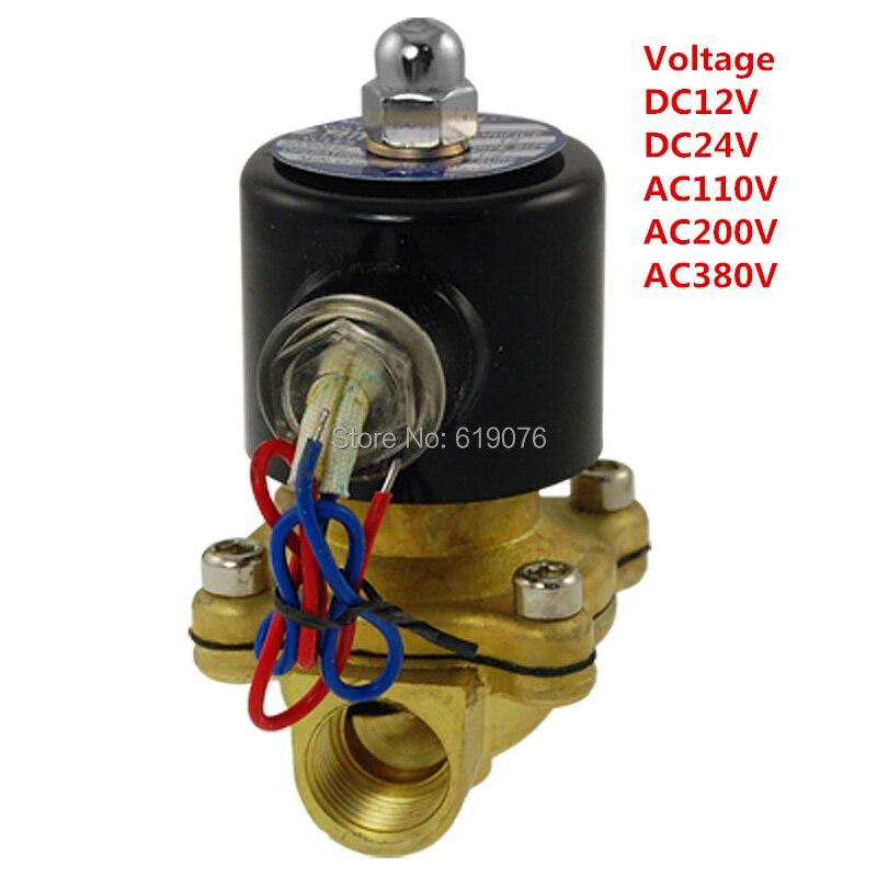 """16mm NC 2W160-15 N/C 2 Way 1/2"""" Gas Water Pneumatic Electric Solenoid <font><b>Valve</b></font> Water <font><b>Air</b></font> ,DC12V, DC24V AC110V,AC220V,AC380V"""