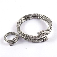 Fashion Punk Style Twisted Silver 316L Stainless Steel Cable Wire Cuff Bangle Bracelet Ring Jewelry Sets