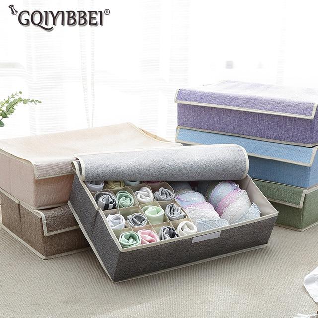17 Grid Home Storage Boxes Foldable Clothing Divider Drawer Lidded Closet Organizer Box For Underwear Ties Socks Shorts Bra