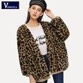 Женское пальто с леопардовым принтом Vangull  повседневное Свободное пальто из искусственного меха с длинным рукавом и v-образным вырезом  Осен...