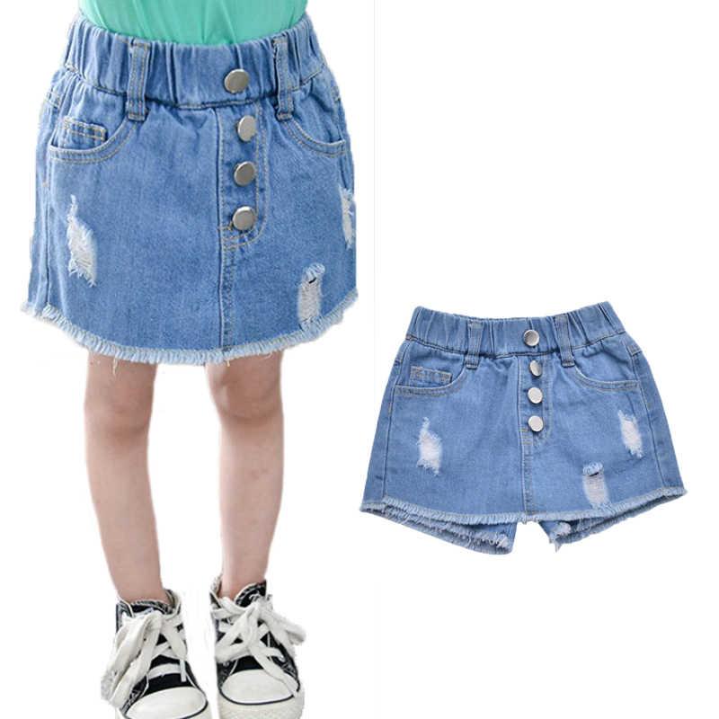 409c79aa66 Summer Kids Casual Jean Skirts for Girls 2019 Children Denim Pencil Skirts  Pantskirts Buttons Elastic Waist