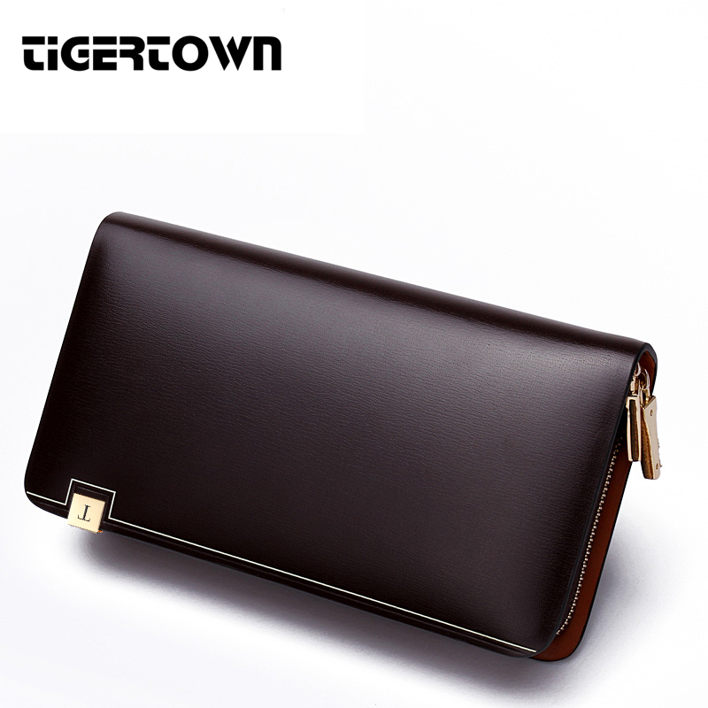 TigerTown 2018 New Men's Fashion 100% Cowhide Genuine Leather Casual Zipper Large Capacity Phone Wallet Hand Bags Clutch Purse coneed fashion women coins change purse clutch zipper zero wallet phone key bags j27m30
