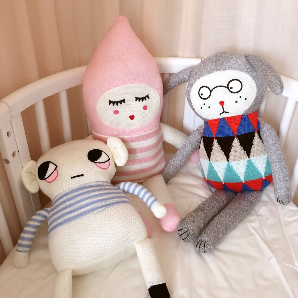 Lucky Boy Sunday High Quality Cute Knitting Wool Plush Toys Baby Sleep Doll Appease Knit Stuffed Doll For Kids Birthday Gift