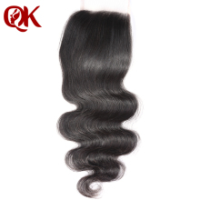 QueenKing Hair Brazilian Remy Hair Lace Closure Body Wave 4″x 4″ 10-18 Inches Bleached Knots Human Hair Closure Natural Color