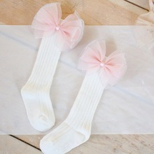 Autumn Winter Girls Socks Long Knee High socks With Bows Princess Kids socks Girl Cute Baby Sock Kids Solid meias 2-4Y 1 pack cotton girls socks long baby knee high socks cat style princess kids socks girl cute baby sock baby girl clothes 30cm