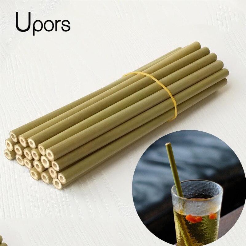 UPORS 200 sztuk/zestaw naturalnego bambusa słomka do picia na Bar akcesoria hurtownia napoje słomy, w odniesieniu do kubki wielokrotnego użytku słomki w Słomki do picia od Dom i ogród na  Grupa 1
