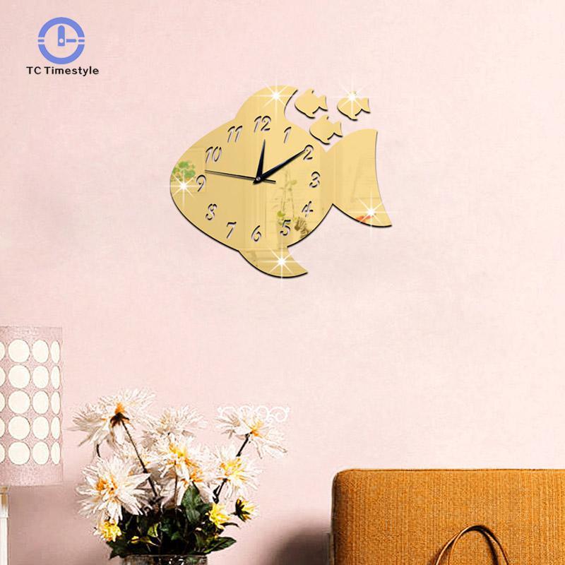 Wall Clock 3d Stereo Decoration Kids Room Fun Decorative Wall Clocks Big Fish Pattern Mirror Digital Watches