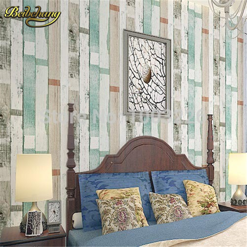 beibehang Style Striped Wallpaper Vintage Wood Wall Paper 3D Bars Living Room Wall Home Decor Blue Beige White papel de pared blue earth cosmic sky zenith living room ceiling murals 3d wallpaper the living room bedroom study paper 3d wallpaper