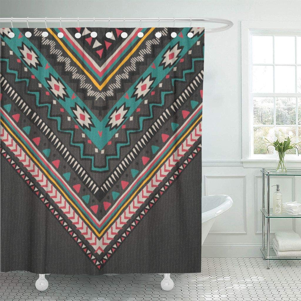 Fabric Shower Curtain With Hooks Blue Tribal Cute Aztec Orange Ethnic Flower African Mexico Indian Geometric Vintage