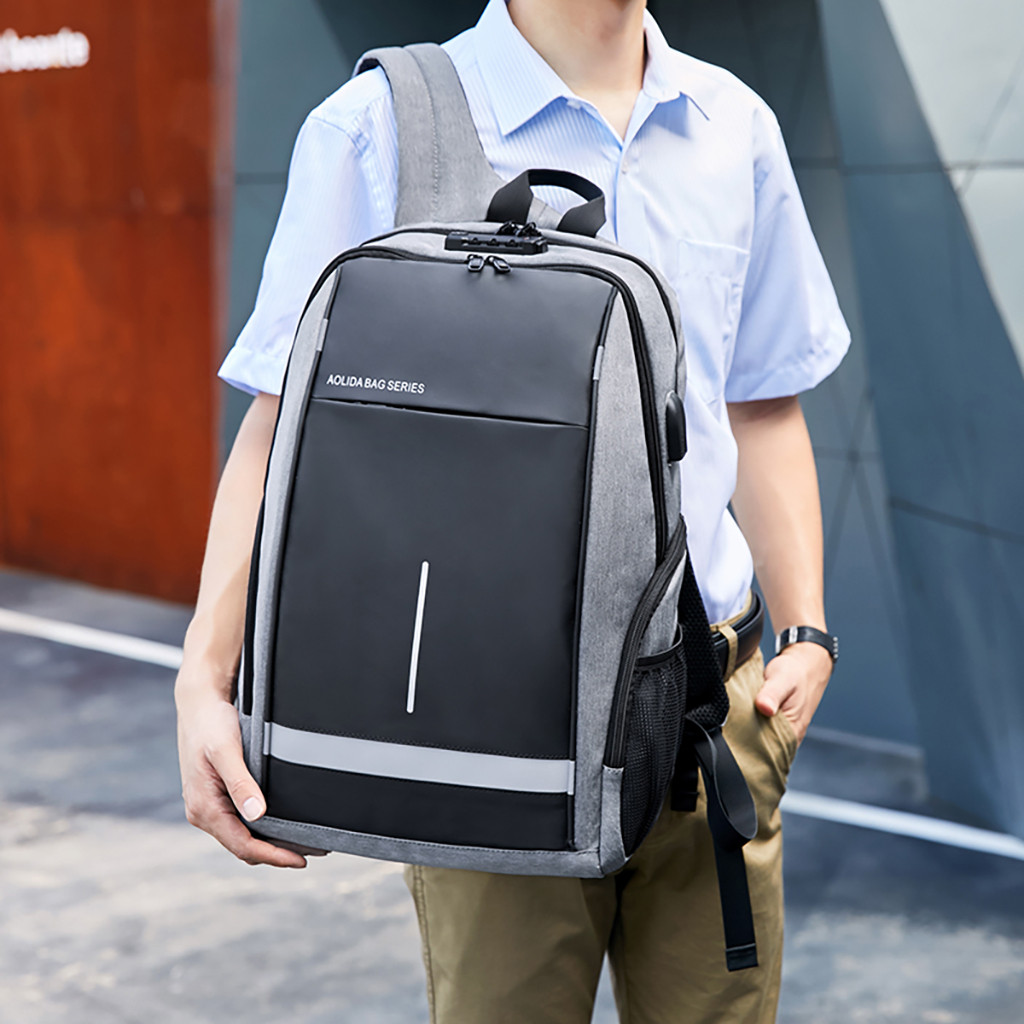 Anti-theft password lock ladies laptop backpack Men's USB Charging Business Travel Bag With headphone plug student Schoolbag #D