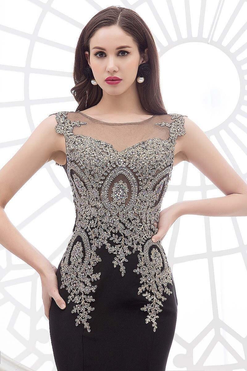 2018 Luxury Real Bilder Schwarz Rot spitze Formal Appliques Pageant prom Party kleid Sheer Neck Indien Arabisch brautjungfer kleider - 6
