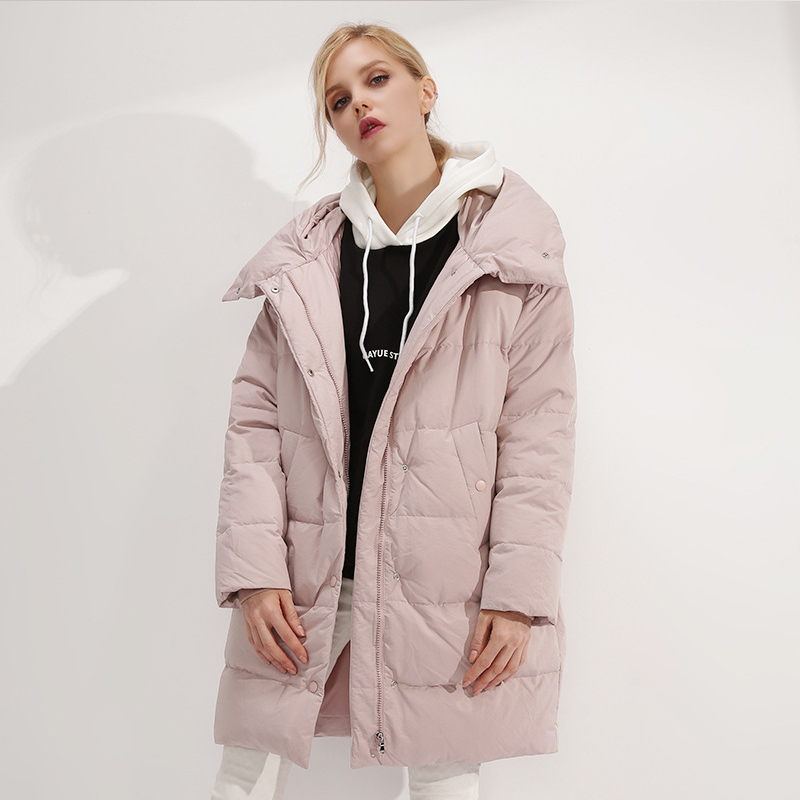 YNZZU Elegant Women's   Down   Jacket 2018 Winter Pink Mid-Long Duck   Down     Coat   Thick Warm Hooded Loose Jacket Women Parka O757