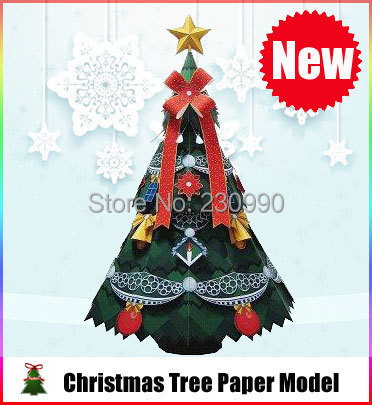 Lovely Christmas Tree Paper Model Kits For Kids Adults Christmas Decoration Paper Models Toys Of Hobby