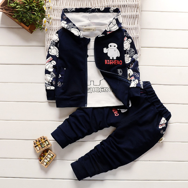 leisure autumn spring children's wear Three-piece suit cartoon suits Kids set baby clothes boys and girls clothing sets
