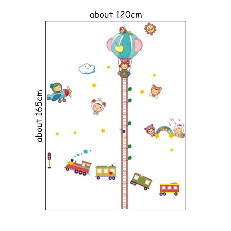 180cm Fire Balloon Ladder Baby Height Wall Stickers Growth Chart For