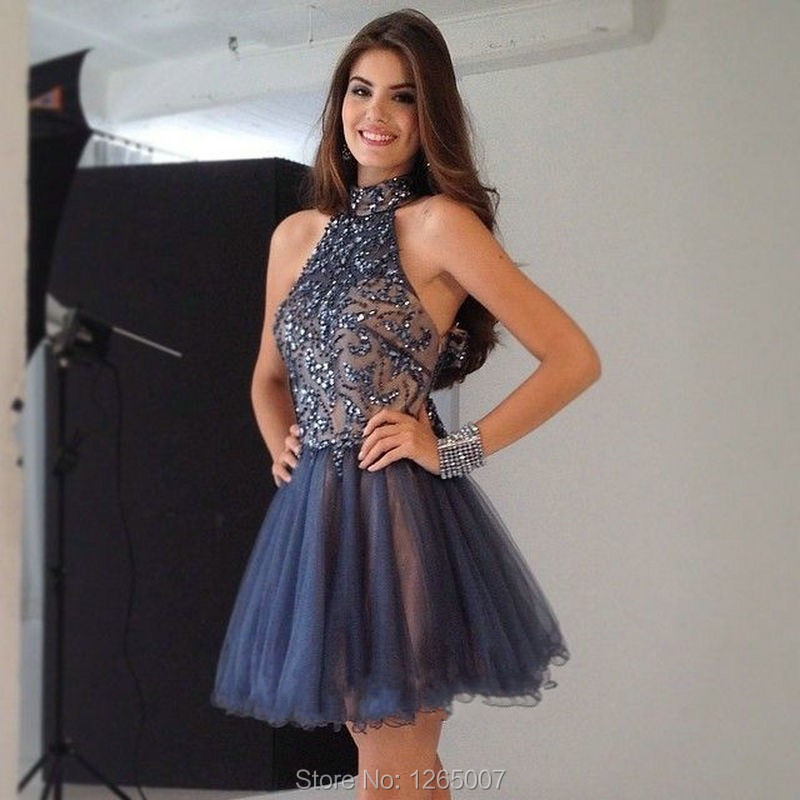 New Arrival High Neck Sparkly Beaded Sequins Puffy Tulle A Line Mini