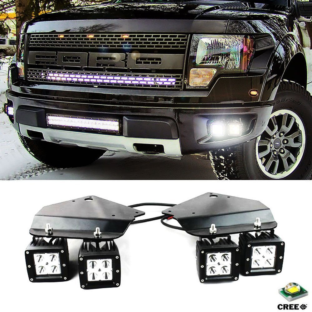 4X High Power LED Fog Light with Hold Stand Bracket For 2010 2014 FORD F150 SVT