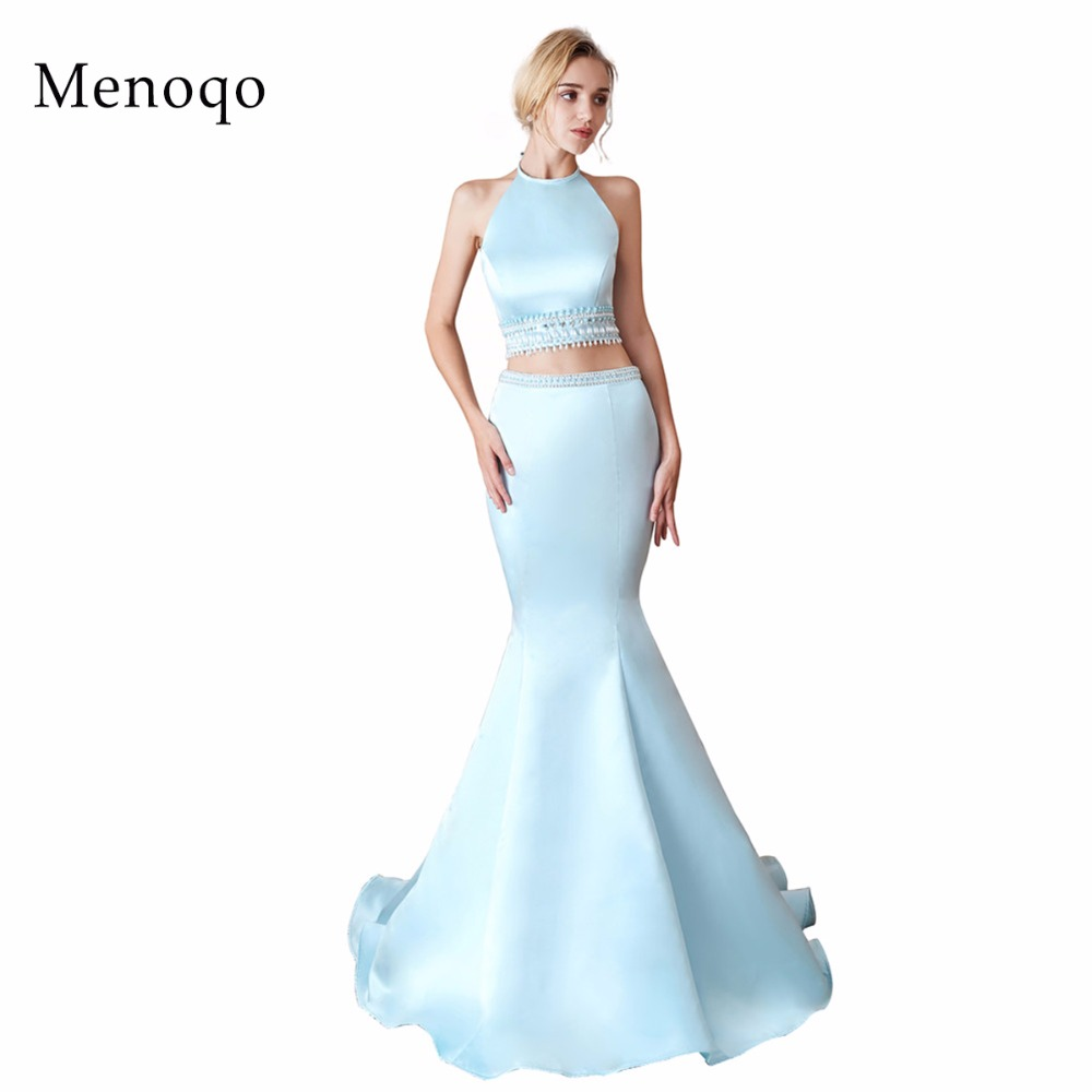 Formal   Evening     Dresses   for Women Elegant Halter Neck Two Piece Sexy Mermaid Floor-Length Long Prom Party Gowns 2019