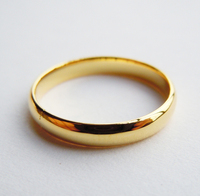 3mm Sterling Silver Plain Band Ring W Yellow Gold Plated Handmade All Size