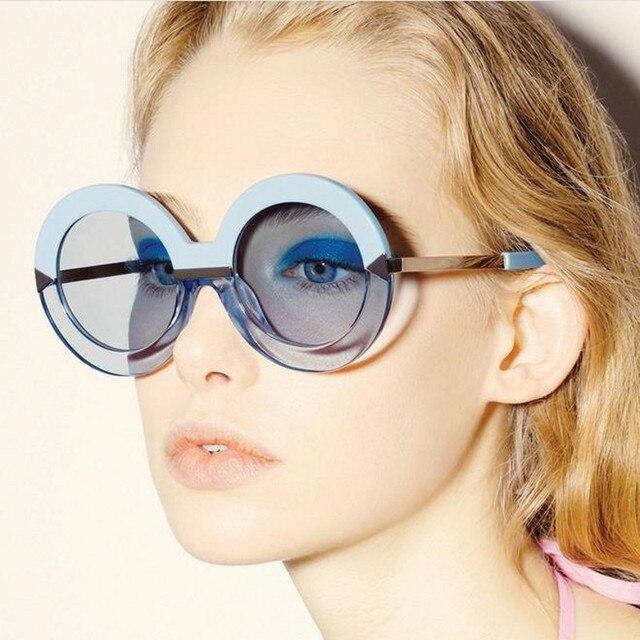 2018 Nova Moda Oversized Rodada Óculos De Sol Das Mulheres Grande Quadro de  Multi Espelho Oculos 259aa4fd56