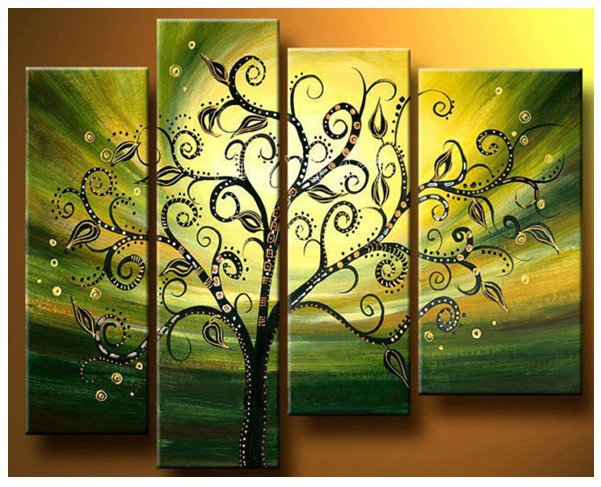 4 piece abstract modern muti panel canvas wall art green tree of ...