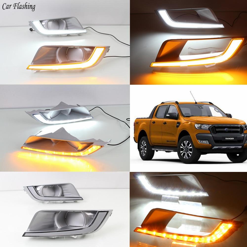 Car Flashing 1 Set Car LED Daytime Running Lights DRL Fog Lamp With Yellow Turn Signal
