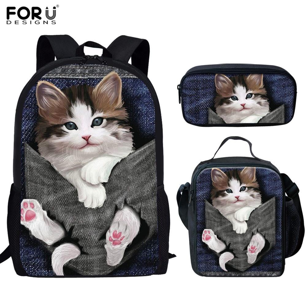 Школьные сумки foruigs, ортопедический ранец с 3d рисунком кошки и котенка для девочек и подростков, 3 шт.|Школьные ранцы| | АлиЭкспресс